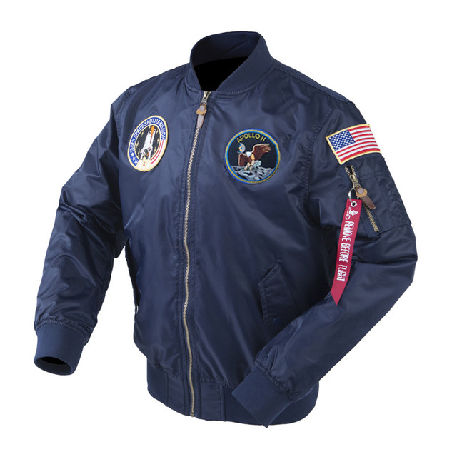 Autumn Apollo Thin 100th SPACE SHUTTLE MISSION MA1 Bomber Hiphop US Air Force Pilot Flight Korean College Jacket For Men