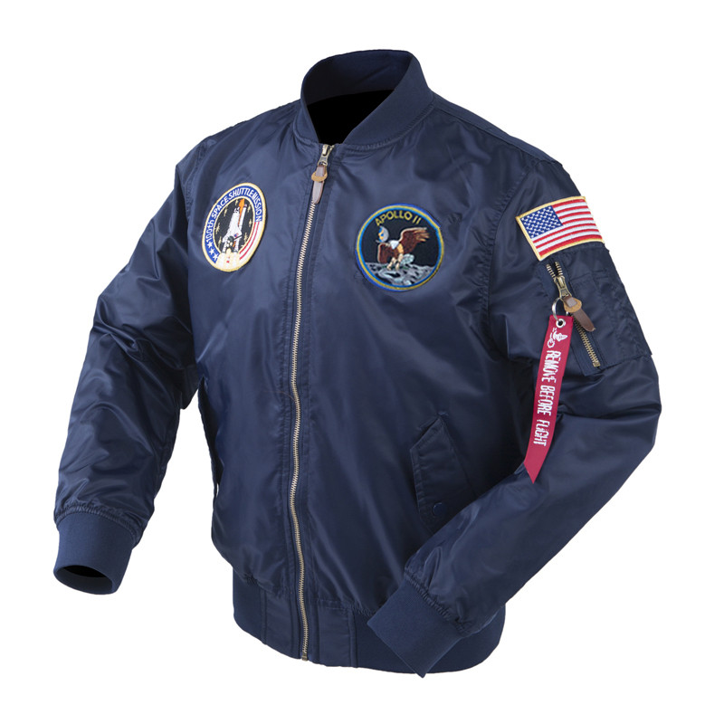 Autumn Apollo Thin 100th SPACE SHUTTLE MISSION Thin MA1 Bomber Hiphop US Air Force Pilot Flight Korean College Jacket For Men