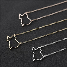 10PCS Outline USA Texas State Map Necklace Geometric Hollow Geography Open Line Earth Globe World American TX City Necklaces