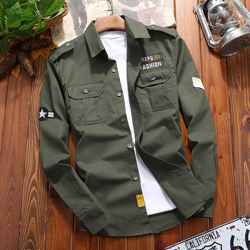 Male Shirts Armband Slim-Fit Long-Sleeve Military-Wind Double-Pocket Blue Hot-Sale Green title=