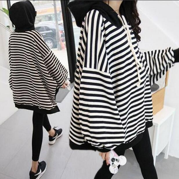 все цены на Maternity Breastfeeding Sweater Striped Tees Pregnancy Clothes Full Sleeves Hoodie Nursing T-shirt Solid Color Loose Gown Lady