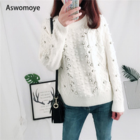 2018 Women Sweaters Luxurious Quality Clothes Handmade Pearl Decoration Round Neck White Knitted Pullovers Loose Wool Sweater.