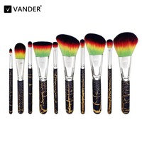 10Pcs Lot Makeup Brushes Set Soft Synthetic Rainbow Hair Facial Eyebow Eyeliner Lip Makeup Brush Tools