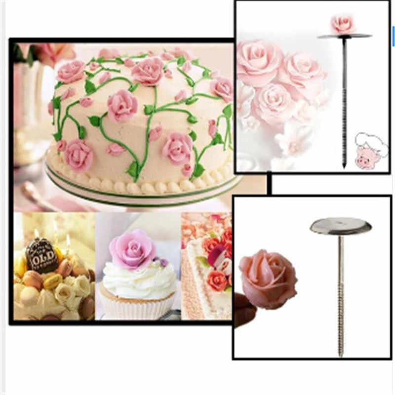 ใหม่ 1 PCS สแตนเลสเค้กดอกไม้เล็บจับ Cupcake Icing ครีมตกแต่ง Sugarcraft เครื่องมือ