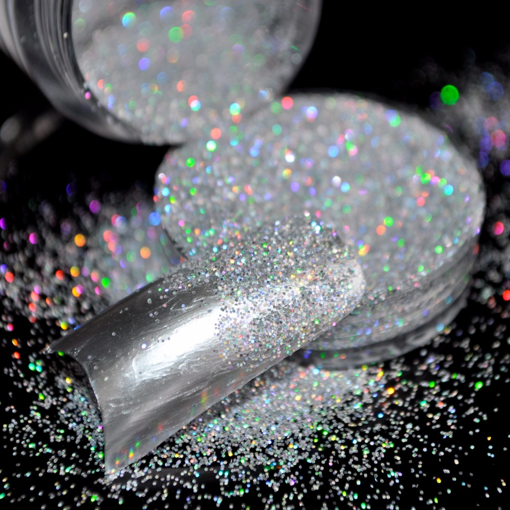 Reputation Clear Acrylic Uv Nail Art Glitter Powder Dust Tips Decoration Laser Sparkly Silver
