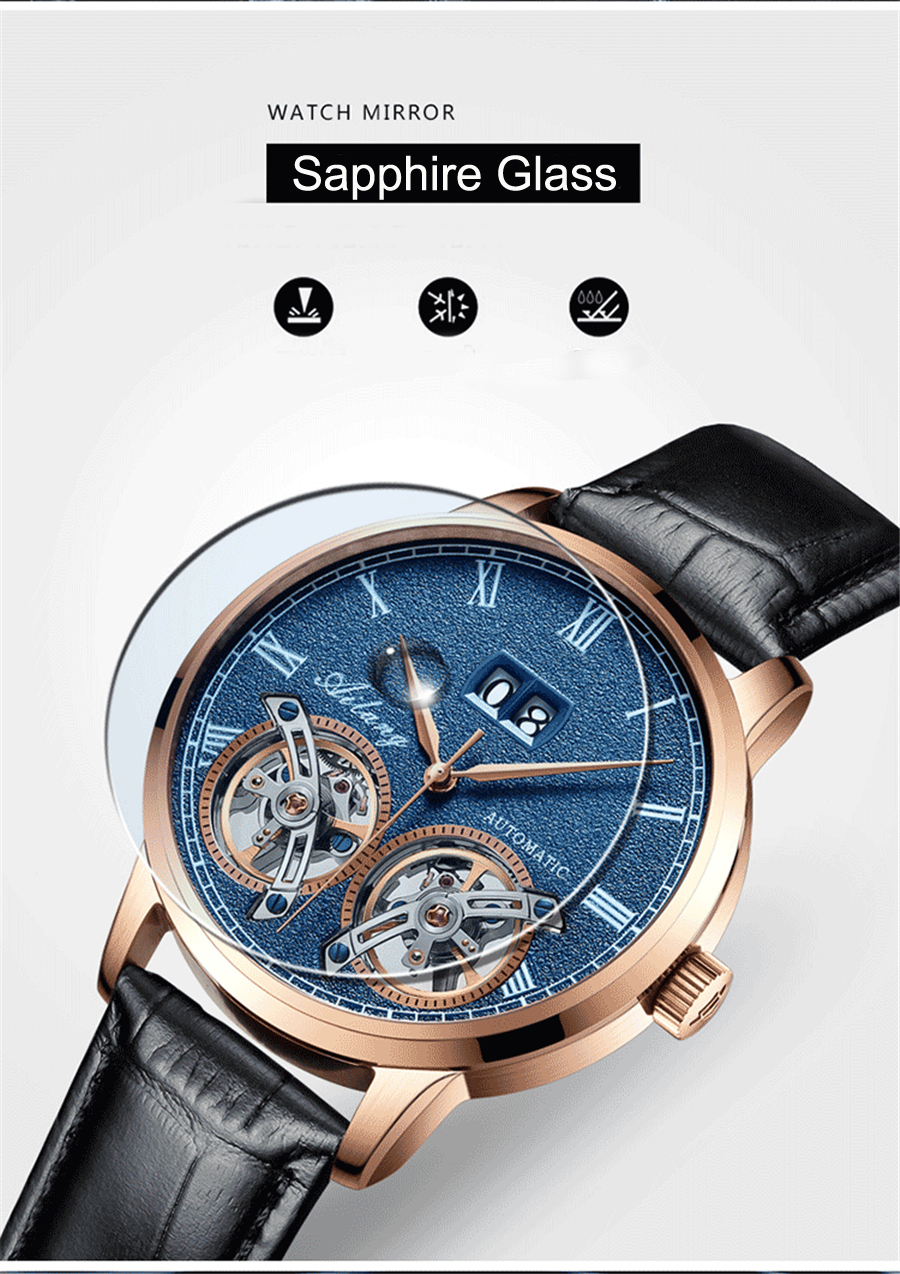 Business Mannen Dubbele Tourbillon Mechanische Horloges Luxe Merk Mannelijke Kalender Waterdicht Horloge Automatische Self Wind Horloge-in Mechanische Horloges van Horloges op  Groep 3