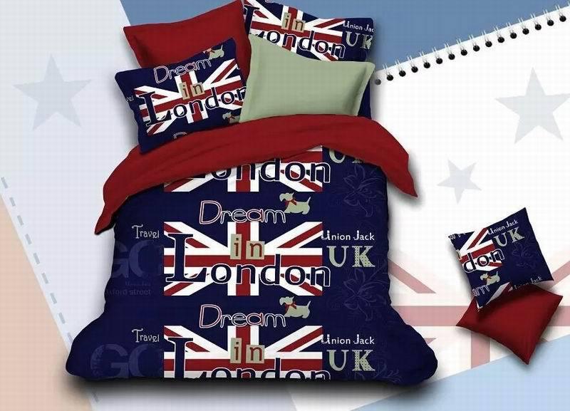 Dream in Lodon ensemble de literie 3d mode New York housse de couette ensemble drap de lit literie drapeau linge de lit Union Jack étoiles et rayures