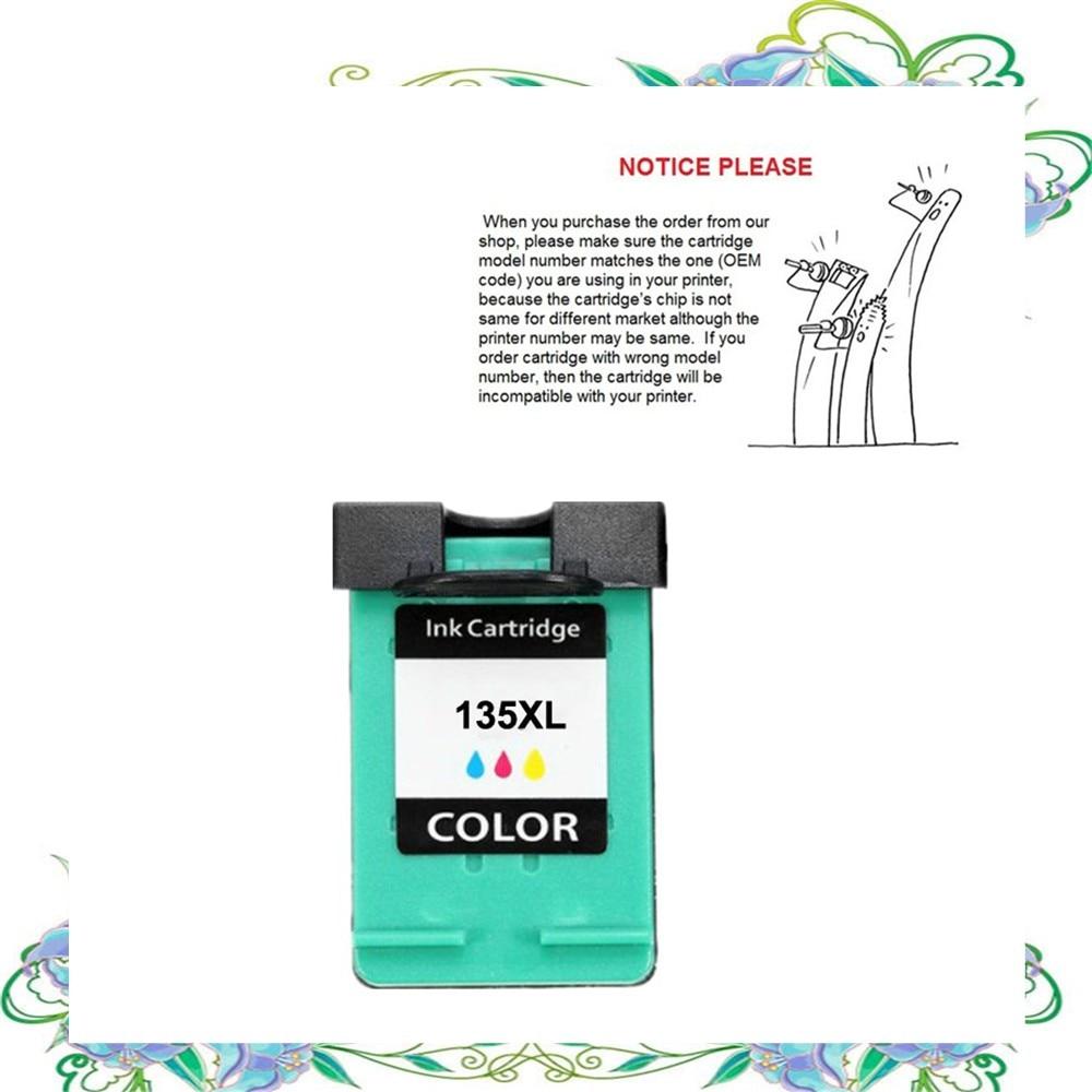 YOTAT 1pcs Replacement for HP135 ink cartridge for HP Deskjet 6543/5743/5740/6843/Photosmart 325/375/8153/8453