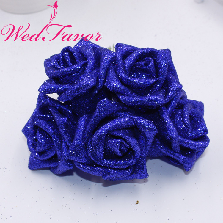 50pcs 5 6cm Artificial Glittered EVA Foam Rose Flower Bridal Bouquet For Home Event Wedding Decoration-in Artificial & Dried Flowers from Home & Garden