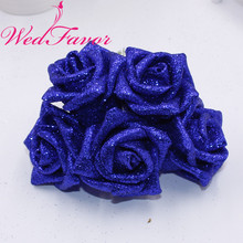 50pcs 5 6cm Artificial Glittered EVA Foam Rose Flower Bridal Bouquet For Home Event Wedding Decoration