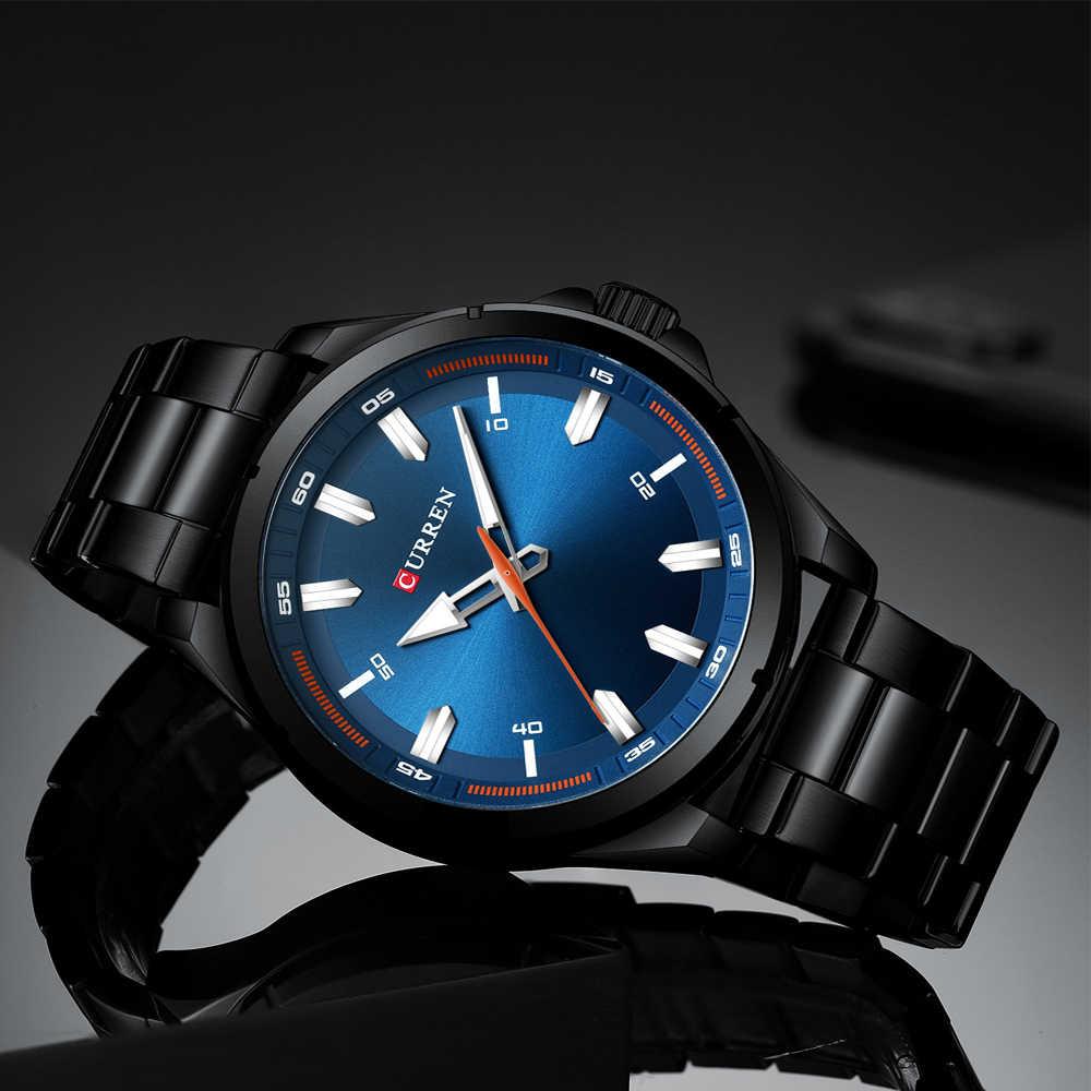 Le plus récent CURREN luxe haut marque montres hommes bleu armée militaire analogique Quartz hommes montre-bracelet avec acier Relogio Masculino