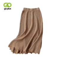 GOPLUS Autumn Winter Elegant Solid Tassel Knitted Skirts Womens Casual Solid Long Skirt Female Thick Skirt For Ladies C6220