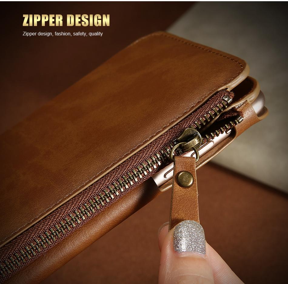 Floveme vintage wallet case dla iphone 6 6 s 7 plus skórzanej oprawie zipper torebka posiadacza karty retro przypadki telefonów dla iphone 6 6 s 7 7