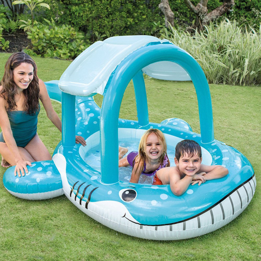 Blue whale shape Plastic Thickening material Awning window Play water play ball Take a bath High quality cute swimming pool