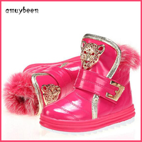 Winter Snow Kids Boots Christmas New Year Children S Shoes NEW Real Rabbit Fur Ankle Snow