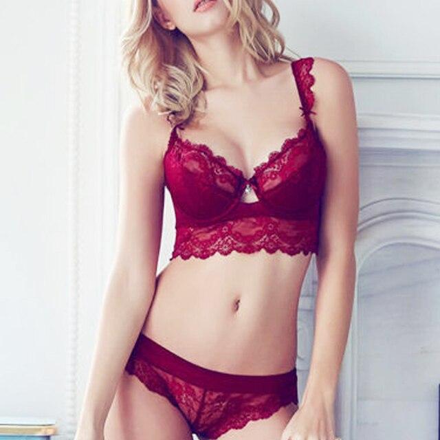 374af09bedf Vogue Secret Lace Lingerie Bra Set Women Sexy Push Up Bras Underwear Sets  Plus size Panties Embroidery Print Floral Elegance. 1 order. Anniversary  Sale US ...