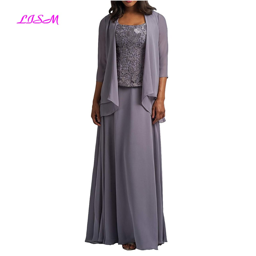 Chiffon Mother Of The Bride Dress With Jacket Lace Prom Dress Formal Evening Gowns Long Plus Size