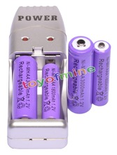 2 + 2 шт. AA AAA 1800 мАч 3000 мАч перезаряжаемая батарея 1,2 в фиолетовый + USB зарядное устройство