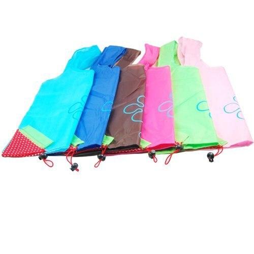 Wholesale 5* Colorful Unique Strawberry Folding Reusable Compact Eco Shopping Bag Nylon