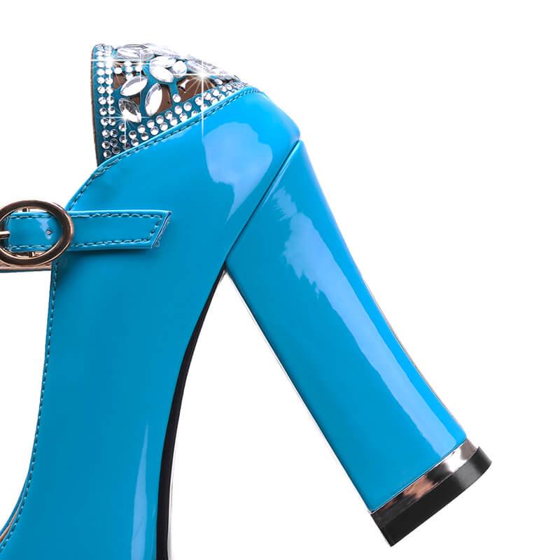 Talons À bleu rouge Femme Épais Cheville De Rouge Bleu Qualité Pompes Noir Bride Noir Chaussures Partie forme Femmes Haute Plate Cristal Mode La Boucle 5gABxYqwB