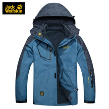 Jack Wolfskin Men's Outdoor Camping Hiking 3 In 1 Jackets Couples Waterproof Windproof Sportswear Men Thermal Fleece Clothing