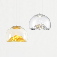 Современный простой гальваническим Золотое стекло один подвесной светильник Nordic Творческий mountain дизайн светодиодный Ресторан декоративн