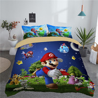 New Cartoon 3d Mario Bro Bedding Sets Kids Adult Gift Duvet Cover Set with Pillowcases Twin Full Queen King Size Bed Linens Set