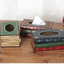 1 PC Retro cajas de pañuelos de madera libro Oficina escritorio Mesa organizador extraíble caja de pañuelos servilletero decoración del hogar ME 015