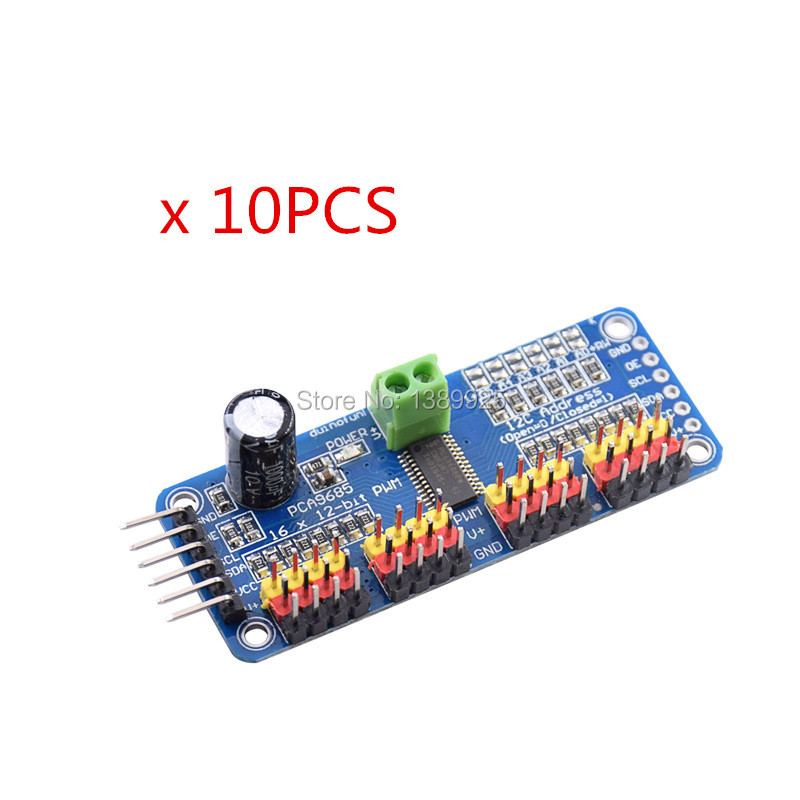 10pcs/lot 16 Channel 12-bit PWM/Servo Driver-I2C Interface PCA9685 Module For Arduino Or Raspberry Pi Shield Module Servo Shield