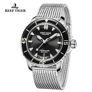 Image 5 - Reef Tiger/RT Top Brand Mens Mechanical Dive Watches Sapphire Crystal Bracelet Watches Blue Luminous Watch Waterproof RGA3035