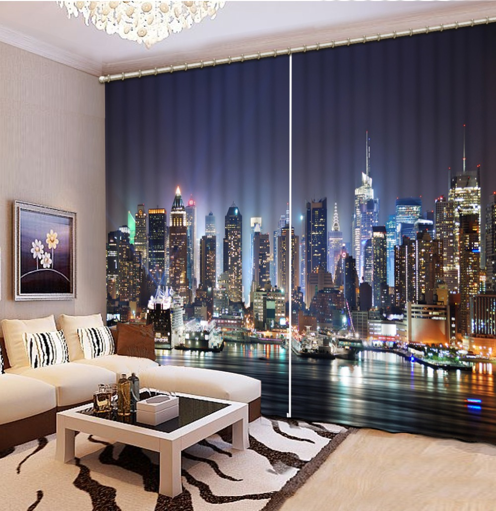 Curtains For Bedroom Blackout Shade Window Curtains City Night Scenery 3D Curtain Beautiful Photo Customize Size 3D image