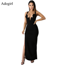 Women High Slit Backless Black Long Dress Sexy Deep V Neck 2019 Summer Elegant Evening Party Club Dresses Solid Maix