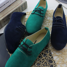 2017 New Arrival Women Fashion Nubuck Leather Pointed Toe Single Shoes Lace-up Candy Color Breathable Flat Big Size 35-40