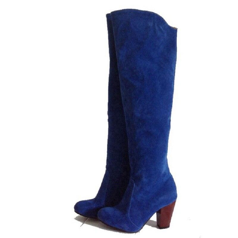 Rouge La Femmes 34 Plus Talons Hauts Troupeau Noir Velours Chaussures Taoffen rouge Noir Pointu 43 Bout gris Genou Taille Bottes bleu Gris datWxq