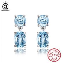 ORSA JEWELS Real Sterling Silver Women Earrings Created Topaz Blue Stone Crystal Stud Earring 925 Jewelry 2019 OVSE07