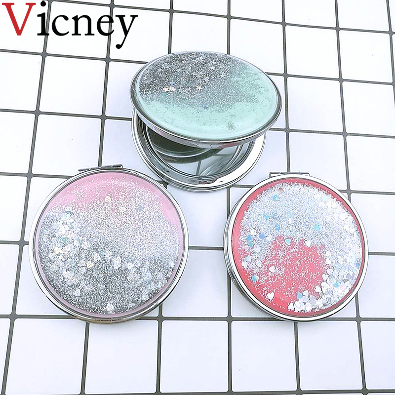 Fashion Women Mini Pocket Makeup Mirror Creative Cosmetic Compact Mirrors With flowing sparkling sand can wholesale Lettering