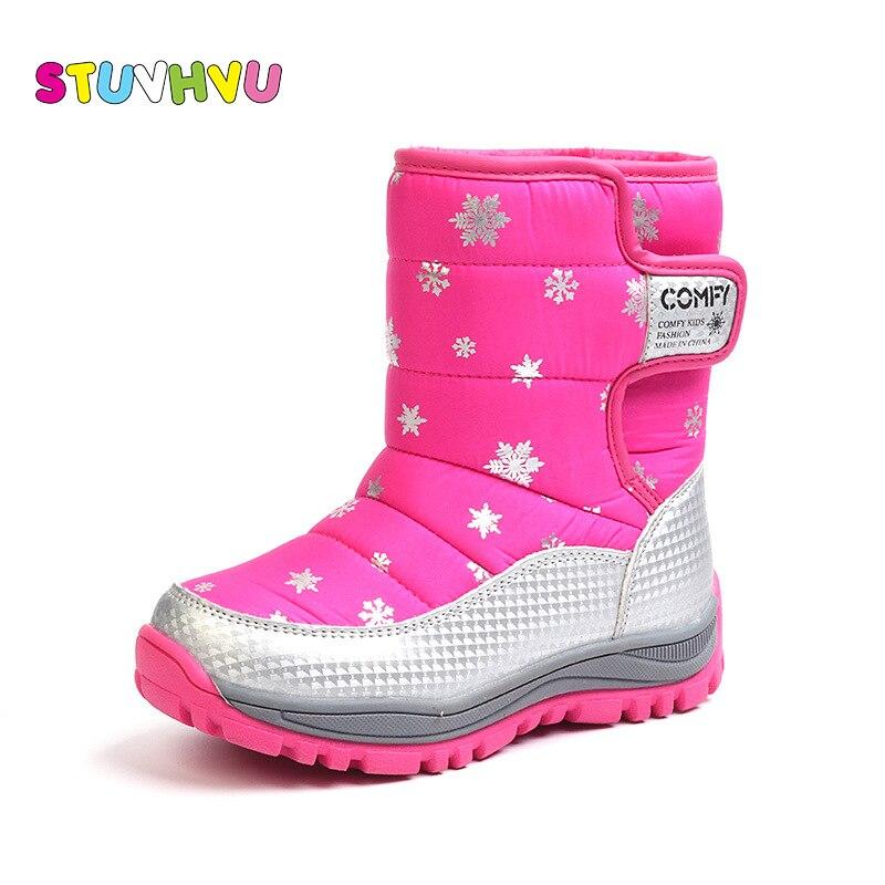 Kids Winter Shoes Girl Snow Boots Fashion Printing Soft Bottom Plus Velvet Warm Cotton Shoes Boys Girls Waterproof Children Shoe