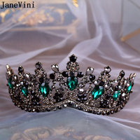 JaneVini Vintage Baroque Green Rhinestone Crowns And Tiaras Bridal Hair Accessories Headband Crystal Wedding Tiaras for Women