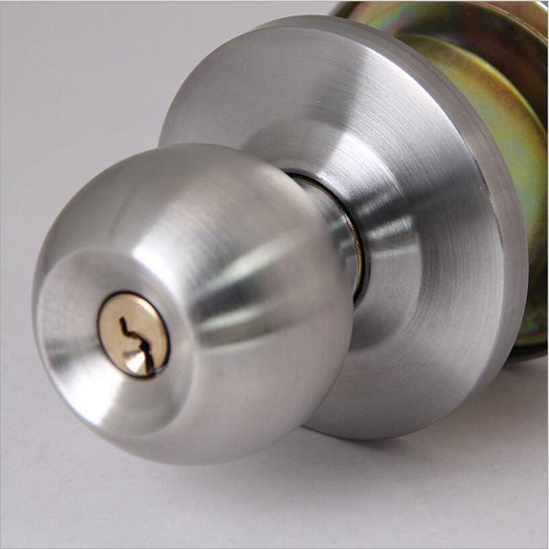 Stainless steel brushed round ball privacy door knob set - Bathroom door knobs with privacy lock ...