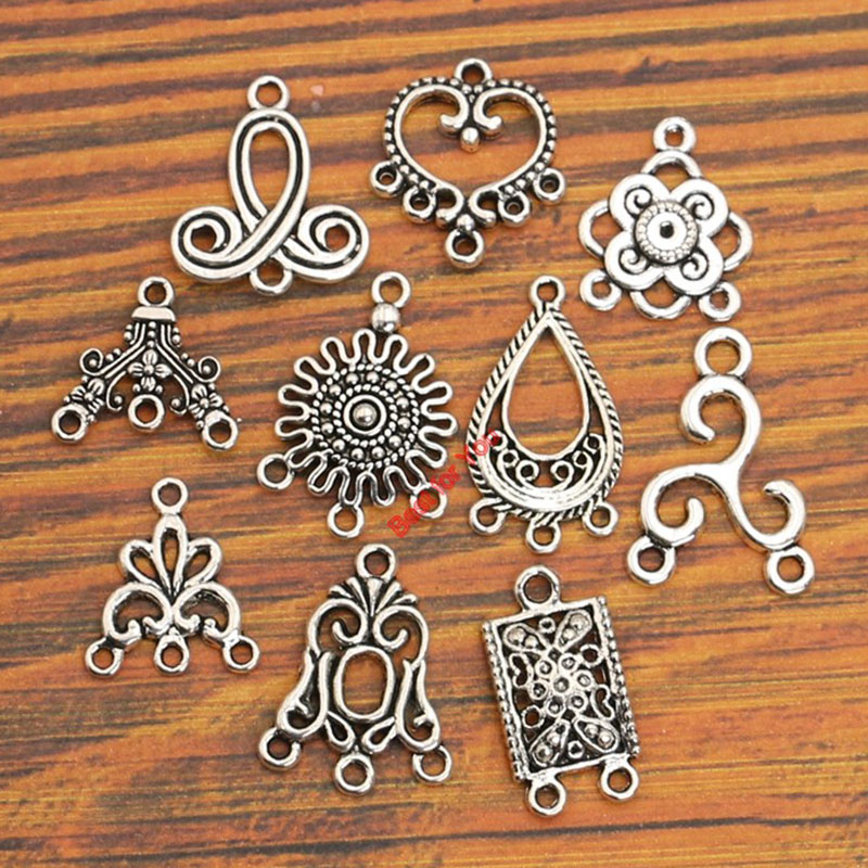 10pcs Mix Antique Silver Plated Connector For  Jewelry Making Bracelet Accessories Craft DIY Handmade Findings 10styles