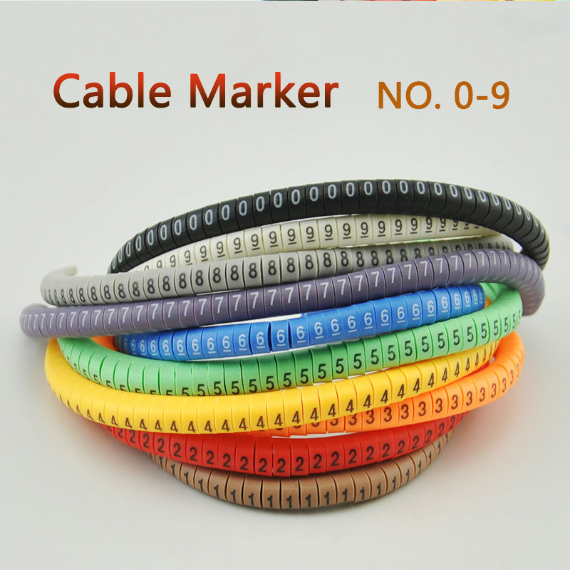 500PCS EC 0 Cable Wire Marker 0 to 9 For Cable Size 1 5 sqmm Colored