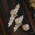 Antique Silver Rose Flower Ornate Knob Handle Kitchen Cabinet Knobs Handles Pulls Hardware