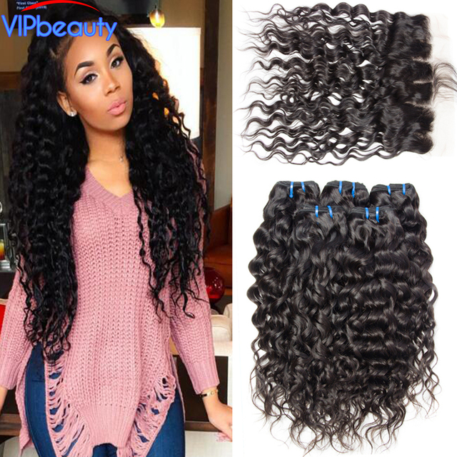 Vipbeauty Brazilian Virgin Hair Water Wave Lace Frontal Closure With