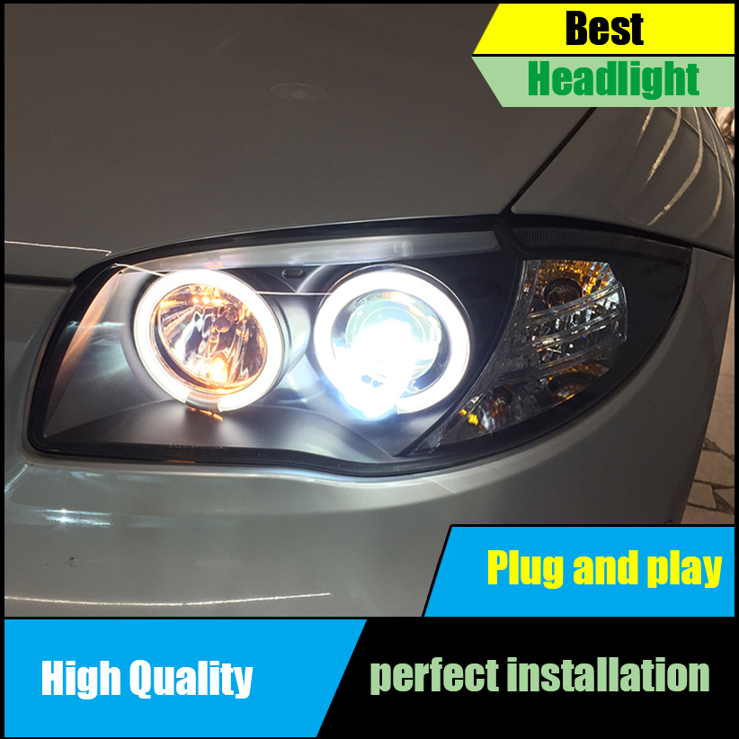 Car Styling for BMW 118i 120i 130i E87 2007 2011 Headlight Assembly Head Lamp Auto LED Angel Eyes DRL H7 Xenon bi xenon lens