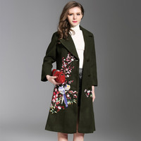 2018 New Womens Embroidery Woolen Coat Female Plus Size Slim Long National Winter Wool A Style Coat V Neck Black Red Green 4XL
