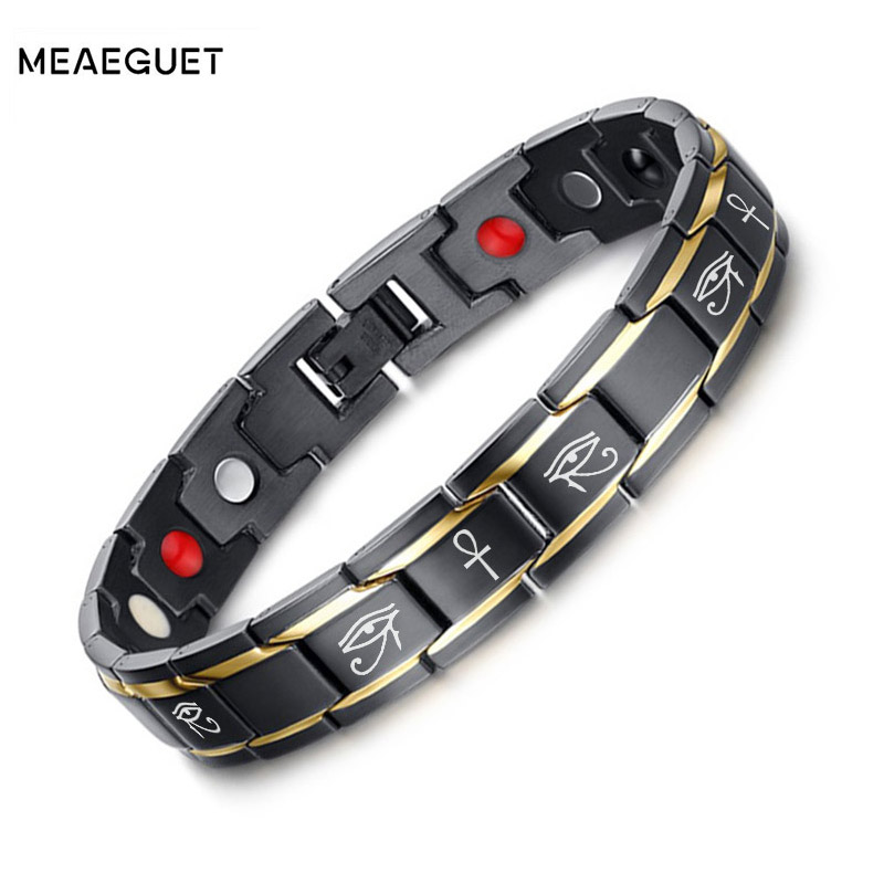 все цены на Meaeguet Ankh Bracelets Men 3000 Gauss Magnetic Bio Energy Healh Care Jewelry Boyfrined Gift Adjustable онлайн