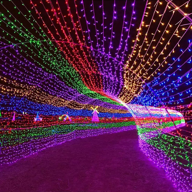 Éclairage extérieur de noël 20/50/100M LED guirlande de rue fée guirlandes lumineuses 8 Modes énergie solaire lumineuse et prise ue disponible