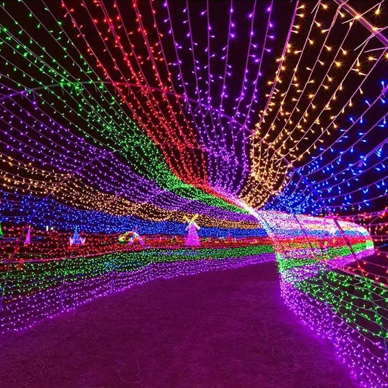 חג המולד חיצוני תאורה 20/30/50/100 M LED רחוב זר פיות מחרוזת אורות תפאורה גן פרק כניסה 8 שינוי זוהר