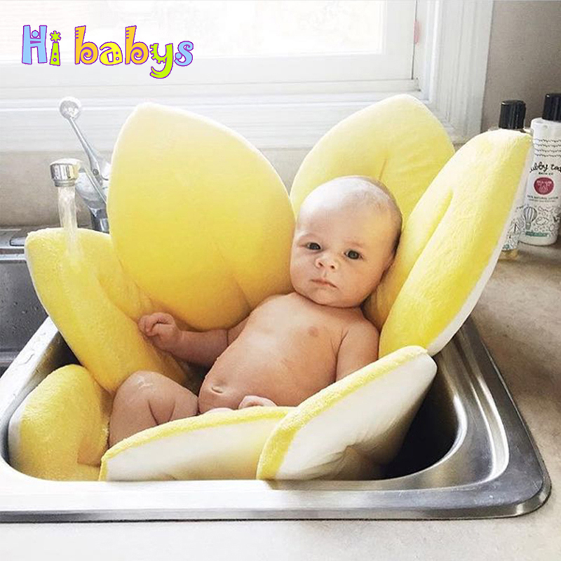 Baby Bath Mat Tub Blooming Bath Flower Bathub Newborn Baby Non-Slip Sunflower Safety Bath Seat Support Shower Folding Seat funny beach shoes super soft non slip bath door mat machine washable