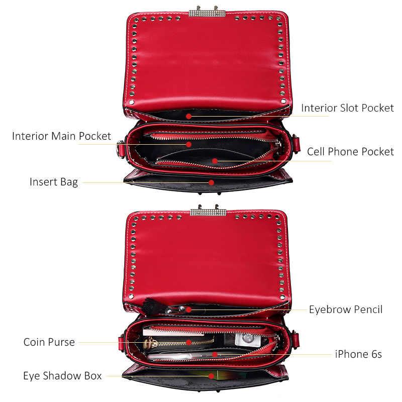 LOVEVOOK  сумка женская через плечо маленькая из искусственной кожи высокого качества  роскошные дамские сумки на плечо c заклепами и цепями дизайнерская сумочка в руках для девочек и женщин 2018